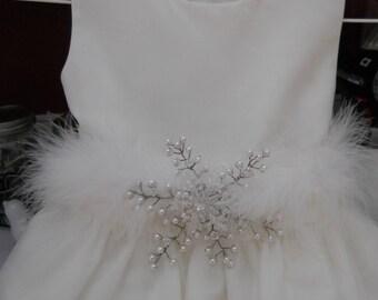 Winter Wedding Dress Sash Snowflake