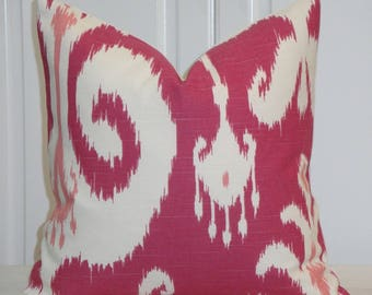 SET OF TWO - 16 x 16 Ikat Decorative Pillow Cover - Throw Pillow - Accent Pillow - Pink - Ivory -  Raspberry