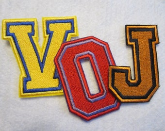 Embroidered Varsity Letters That Uses 3 Colors Of Thread, School Letters, Name Letters, Personalize with Letters, Varsity Letters