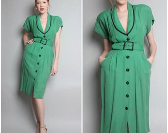 1980's Emerald Green Dress / Shirt Dress / Sheath Dress / Large