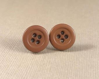 Brown earrings, stud earrings, button stud earrings, nickel free earrings