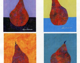 Set of four kitchen food art original acrylic paintings pears quirky fruit colorful