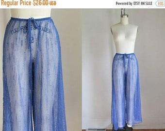 AWAY SALE 20% off vintage swim cover up pants - FISHNET blue beach pants / M-L-Xl