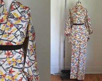 vintage kimono - IKEBANA botanical print kimono (deadstock)