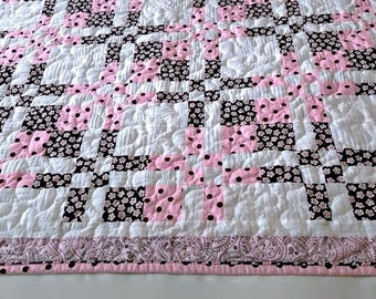"""Pink, Brown & White Baby Quilt, Handmade Lap Quilt, Quilted Throw, Modern Patchwork Quilt for Sale, Homemade Quilt – 43-1/2"""" x 50-1/2"""""""