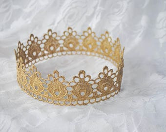 """Gold Princess Lace Crown - """"Small Floret"""" - fairy tale, royalty, birthday crown, bridal crown, bachelorette party"""