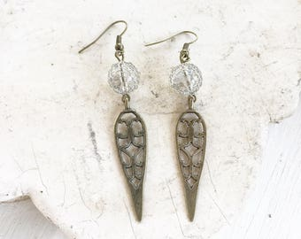 Bronze filigree point earrings