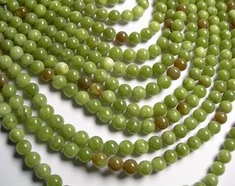Serpentine Jade -  8mm - round  - A quality  - 48  beads - full strand - Mix tone - RFG1369