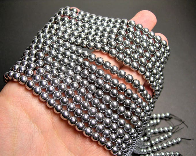 Silver Hematite - 6 mm round beads - full strand - 67 beads - AA quality - RFG1415