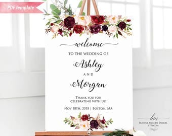 Printable Burgundy Floral Welcome Sign, Editable Wedding Ceremony Sign PDF Template, 24x36 18x24 16x20 Large Poster DIY Instant Download #01