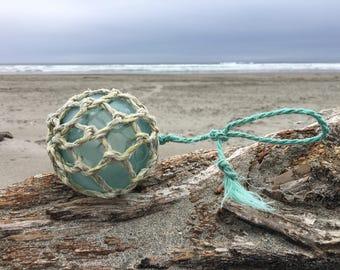 Japanese Glass Fishing Float, Original Net, Alaska Beachcombed