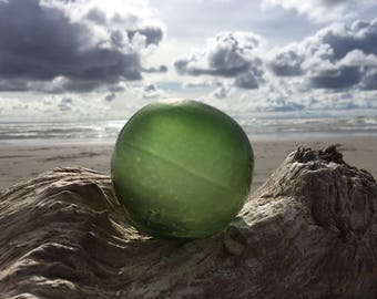 Japanese Glass Fishing Float, Tri Mold, Green, Alaska Beachcombed