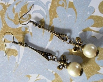 White Pearl Drop Earrings with Bows (3757)