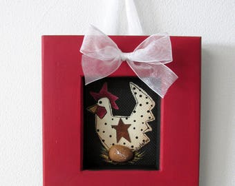 Small Folk Art Chicken Sitting on Egg,Framed in Reclaimed Handcrafted Wood Frame,Tole or Hand Painted,Black Screen,Chicken and Egg,Red Frame