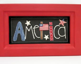 American Sign, Folk Art America Sign, Framed in Reclaimed Wood, Red  Frame, White Stars, Red, White and Blue, Tole Painted, USA Flag