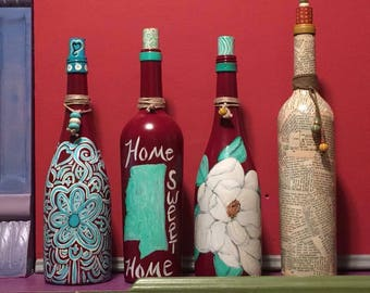 Hand-painted Wine Bottles