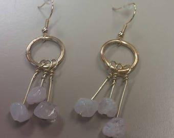 Pink Rose Quartz dangle earrings,  Rose Quartz Drop Earrings, Gifts for Her, Natural Gemstone Jewelry, Quartz Jewelry, Unique Gems Jewelry