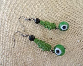 Clay Crocodile Onyx And Green Glass Dangle Beaded Earrings