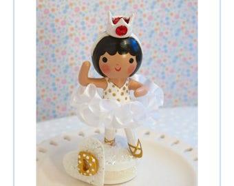 White Tutu, Ballerina Cake Topper, Ballerina Party, One Of A Kind Topper, Ballet Birthday Party, Cake Decoration, Little Girl Birthday