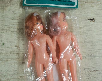 """Vintage Packaged Pair of 7.5 Inch """"Dress Up"""" Dolls"""