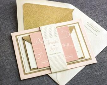 "Blush and Gold Glitter Wedding Invitation, Modern Wedding Invitations, Luxury Wedding Invitation Set - ""Modern Swirl & Flourish"" FP-2L-v1A"