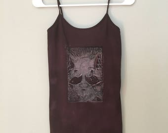 Wolf Pack, Brown Tank Top, Linoleum block print, hand printed, Large, fine art fashion