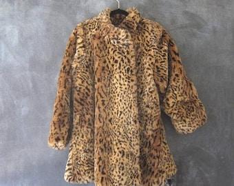 20% Off Sale 80s Faux Leopard Swing Coat Oversized Vegan Winter Coat Jacket OSFM