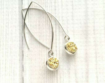 Gold Druzy Earrings - faux drusy jagged rock style small simple dangle - long silver marquise hook - rough sparkle 3D elegant gift for her