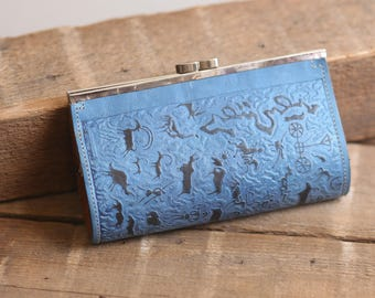 Blue Southwestern Clutch - Small Vintage Leather Purse  1980's 1970's Peruvian? Boho Bohemian Tooled