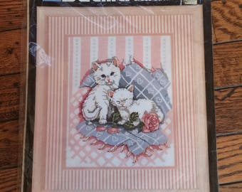 "Bucilla Cuddle Up Cats Kittens Counted Cross Stitch Kit 9"" x 12"""