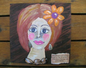 Contemporary Folk Art Painting on Canvas Woman Inspirational Painting