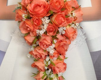 """New Artificial Coral Reef Wedding Teardrop Bouquet, 15"""" in length. Baby's Breath and Coral Bridal Bouquet"""