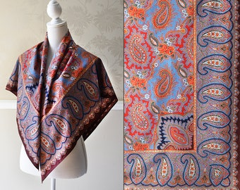 Vintage Shawl Scarf French Folk Art Cashmere Red Paisley Cotton Print Square