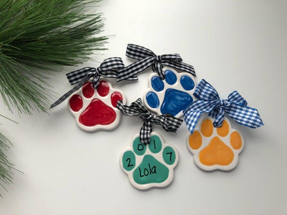 Personalized, Dog Christmas, Ornament, Dog paw ornament, cat paw ornament, bear paw ornament, Personalized pet ornament, school ornament