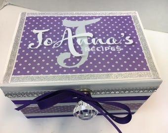 Wedding Recipe Box - Shades of Purple and Silver