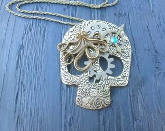 Steampunk Skull Necklace, Bronze Octopus Skull, Watch Gears, Tattoo Skull, Industrial Jewellery