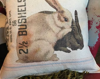 Grain Sack Pillow Cover   Bunnies by Gathered Comforts