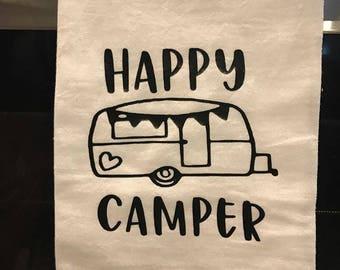 Happy Camper Flour Sack Kitchen Towel