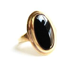 Vintage 14K Gold Plated Black Onyx Solitaire Ring  - Bezel Set Jet Black Glass - Faux Onyx - Mid Century - Size 4 - Signed ESPO