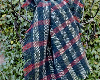 Dark blue/green, cream and red plaid wool scarf, hand fringed