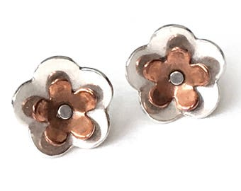 Small Silver and Copper Flower Post Earrings (EP-SCF1)