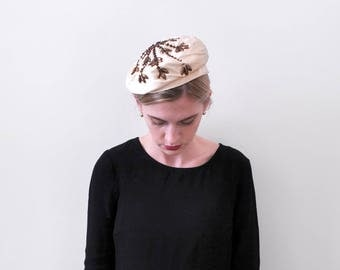 1960 satin beaded hat. cream. 60's brown beaded beret. Ivory. floral.