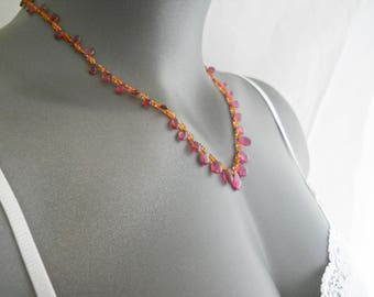 Pink Tourmaline Necklace Mexican Opal Summer Necklace, Hot Pink Necklace Orange Necklace, Opal Beaded Necklace, Briolettes, Gemstone Jewelry