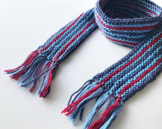Denim Stripe Pixie Scarf - Red Striped Denim Blue Scarf for Kids - Winter Classic Scarf for a Child - Popular unisex blue scarf for children