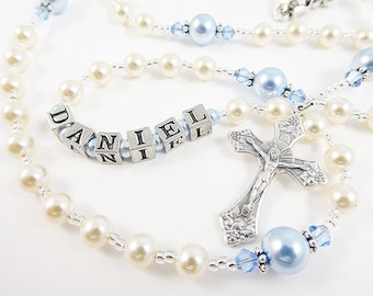 NEW! Personalized Rosary for a Boy in Cream and Baby Blue - Swarovski Crystals - Baptism, First Communion, Confirmation