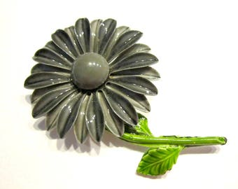 "Vintage Gray Flower Brooch Large Enamel 2 1/2"" Vintage Grey Pin Bold Flower Gift Idea Under 15 Mourning Jewelry for Her"