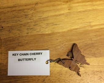 Handmade Wooden Butterfly Key Chain made from various Hardwoods.