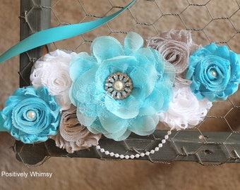 Maternity Sash, Boy Maternity Sash, Blue Maternity Sash, Pregnancy Sash, Maternity Flower Sash, Baby Shower Sash, Turquoise Gray White, RTS