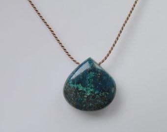 Chrysocolla Gemstone Necklace Heart Briolette on Simple Fine Silk Cord Minimalist Minimal, Floating Silk Jewelery Blue Green Simple Smooth