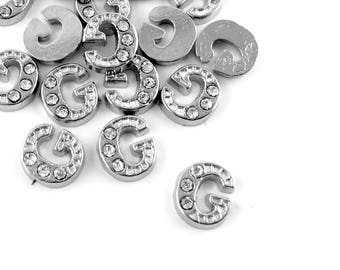20pcs Letter G Floating Locket Charm - Silver Rhinestone Wholesale Alphabet Bead Supply - Tiny Flat Scrapbook Card Making Embellishment B84